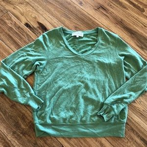 Wildfox green v neck sweat shirt